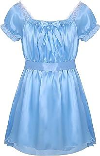 FEESHOW Men's Shiny Satin Frilly Lingerie High Low Dress Ruffles Sissy Pajamas Nightwear