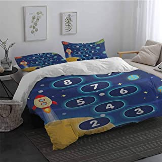 Sheet Set Microfiber Bedding Kids Activity Children Activity Hopscotch Game in Space Science Fiction Themed Cartoon 3 Piece(1 Duvet Cover+2 Pillowcases) Multicolor Full