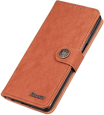 WiseLSwim Stylish Cover Compatible with iPhone XR, Orange Leather Flip Case Wallet for iPhone XR