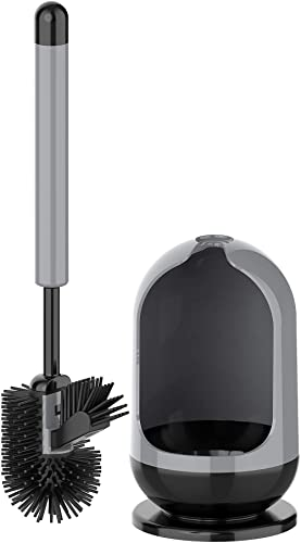 MR. SIGA Toilet Bowl Brush and Holder for Bathroom, Non-Scratch TPR Bristles, Under-Rim Brush Head, Gray & Black, 1 Pack
