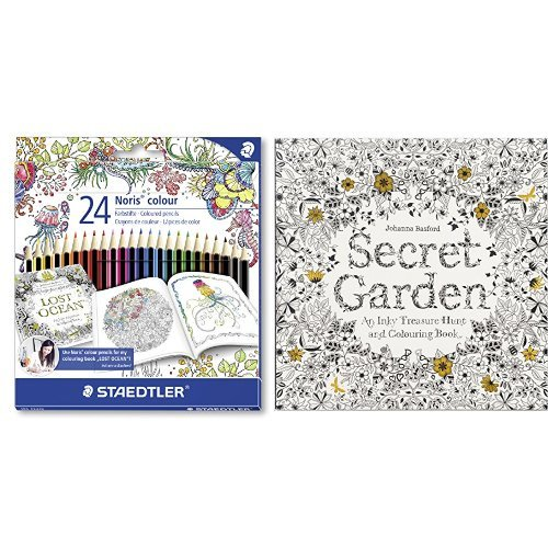 Set - STAEDTLER Buntstifte Noris colour Set 24 Farben und Johanna Basford - Secret Garden
