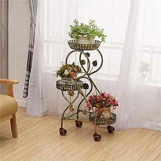 HTTSC Retro 3 Tier Flower Racks Iron Metal Flower Shelves Standing Shelf for 3 Plant Flower Pots Holder with Wheel Garden ...