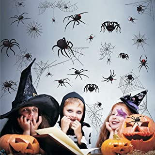 Halloween Stickers Horror Black Spider Window Glass Stickers Self-adhesive Background Wall Graffiti Decoration Wall Stickers