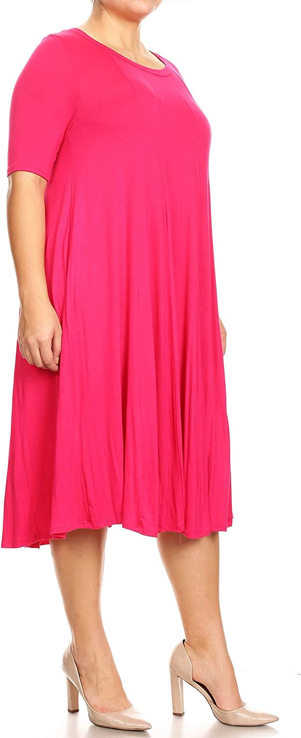 Women's Plus Oversize Solid Casual Loose Fit Short Sleeve Jersey Knit A-Line Midi Dress