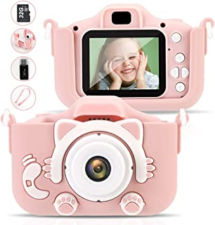 RobotsDeal 2019 New Kids Camera for Girls Gifts 12.0MP 1080P 2.0 Inches Screen Kids Video with 32GB TF Card Camera Anti-Drop Children Selfie Toy Camera Mini Child Camcorder for 3-14-Year-Old (Pink)