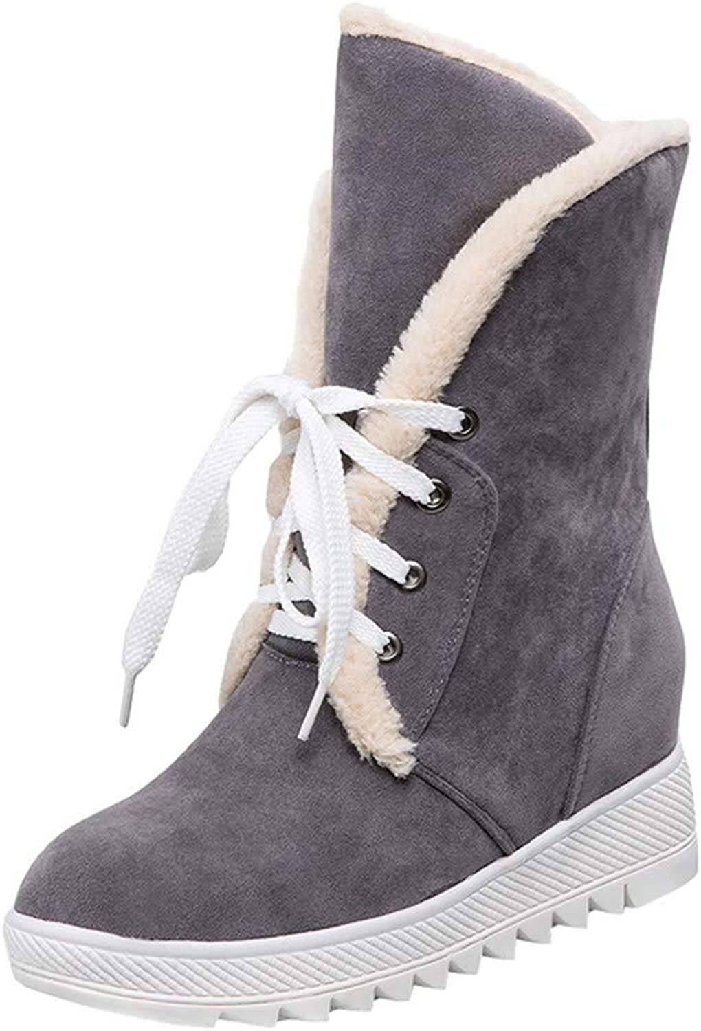 Esharing Elegant Women's Fluff Liner Cross Lace Up Comfy Short Boots Lady Snow Booties