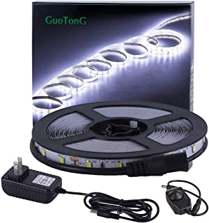 GuoTonG Dimmable LED Light Strip Kit with UL Listed Power Supply, 300 Units SMD 2835 LEDs, 16.4ft/5m 12V DC Non-Waterproof, LED Ribbon, DIY Indoor Kitchen Bar Celebration Decoration (Daylight White)