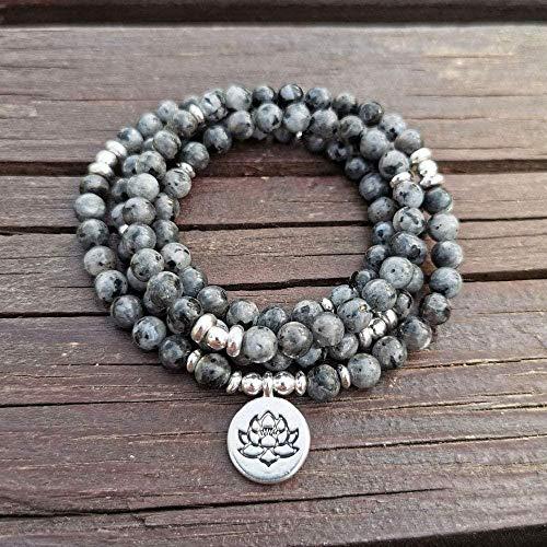 NC188 108 Mala Labradorita con Lotus Om Buddha Charm Yoga Pulsera o Collar Joyería de Piedra Natural Regalo para Mujeres Hombres