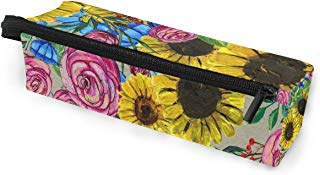 Glasses Case Watercolor Sunflower Multi-Function Zippered Pencil Box Makeup Cosmetic Bag for Women/Men