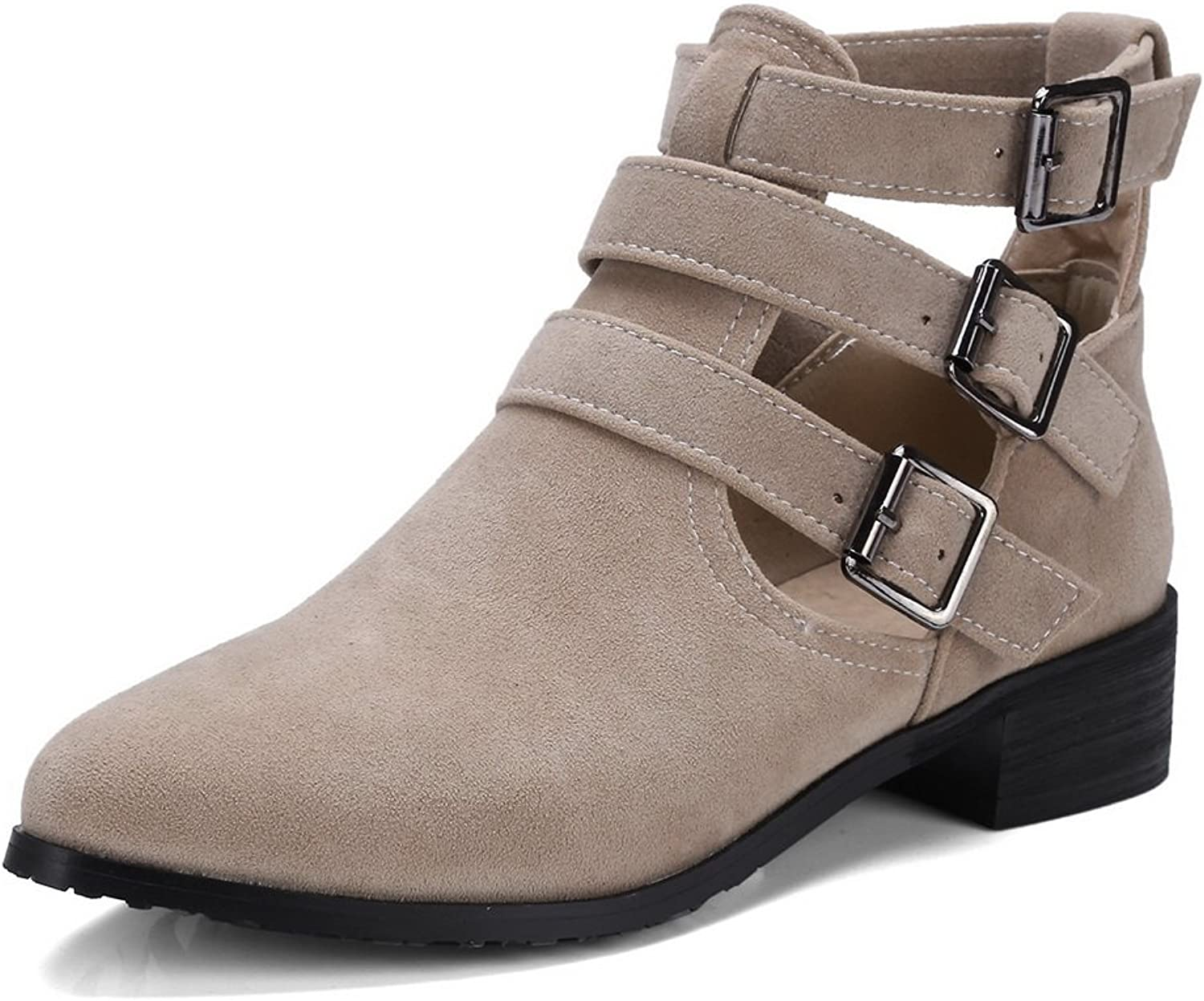 AdeeSu Womens Hollow Out Chunky Heels Metal Buckles Microsuede Boots SXC02620