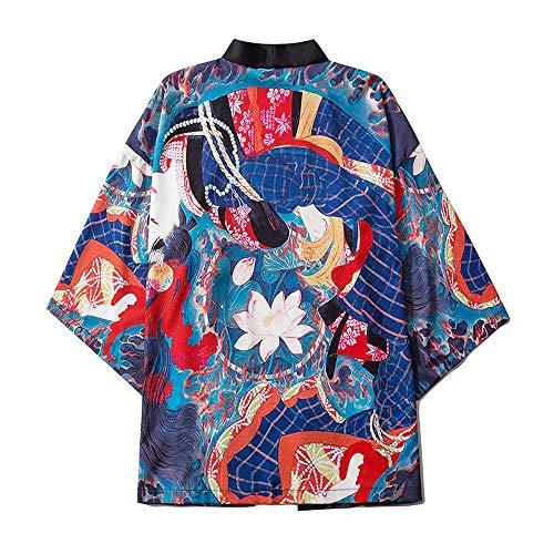 Mujeres Japonés Kimono Cardigan Japonés Kimono Albornoz Unisex Capa Chaqueta De Tres Cuartos Manga De Tres Cuartos Talla Grande Camisa Pijamas Sueltas X-Large