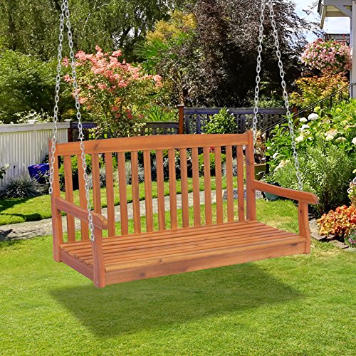 Outsunny Hängebank Gartenschaukel Hollywoodschaukel 2-Sitzer mit Ketten Holz Braun B122 x T61 x H59cm - 6