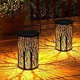 Lanterna Solare Esterno GolWof Lampada da Giardino Impermeabile LED Luci Solari Sospensione Illuminazione Solare Retro Decorativo Lanterna per Esterni Patio Aperto Giardino (2 Pezzi)