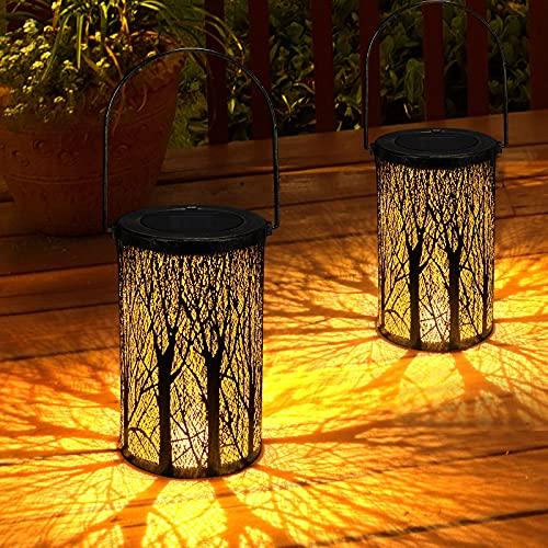 Solar Laterne für Außen GolWof Solar Garten Hängende Laterne Zylinderförmige Nachtlicht Wasserdicht IP44 mit Lichtempfindlichkeit für Veranda Rasen Hof Gehweg Auffahrt Weihnachten (2 Stück)