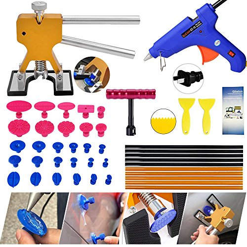 PDR Tools,Gliston Auto Body Dent Puller Tools Paintless Dent Removal Tools -PDR Dent Lifter -PDR Glue Sticks-PDR Glue Gun -Pro PDR Glue Tabs -Mini T bar for Car Auto Body Repair Tool Dent Puller