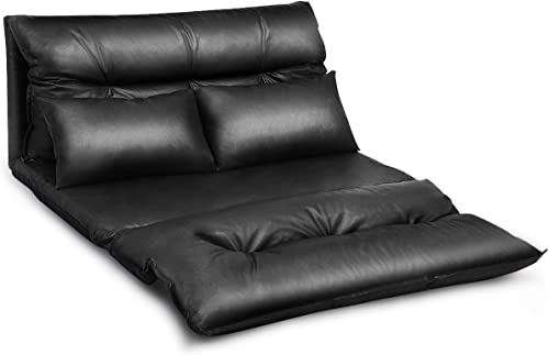 new arrival Giantex Floor Sofa PU Leather Leisure Bed Video popular Gaming Sofa with Two outlet sale Pillows, Black outlet sale