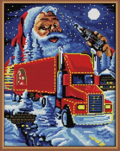 Cross Stitch Kits, Awesocrafts Christmas Truck Santa Claus Easy Patterns Cross Stitching Embroidery Kit Supplies Christmas, Stamped or Counted (Santa Claus, Stamped)