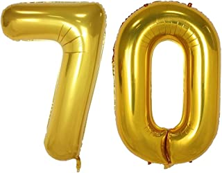 40inch Gold Number Balloon Party Festival Decorations Birthday Anniversary Jumbo foil Helium Balloons Party Supplies use Them as Props for Photos (Gold 70)