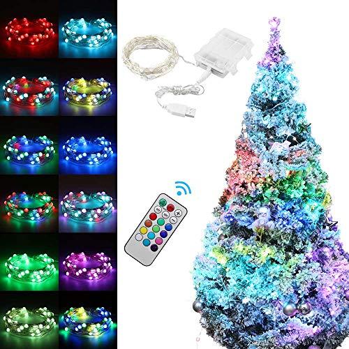 A0ZBZ - Luci a stringa di Natale, 50 LED, 12 modalità, 16 colori RGB a tre fili di rame per albero di Natale, ideale come decorazione per matrimonio, Capodanno, festa di Capodanno (alimentazione USB)