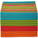 Kitchen Dish Towels Salsa Stripe - 100% Natural Absorbent Cotton (Size 28 x 16 inches) Fes...