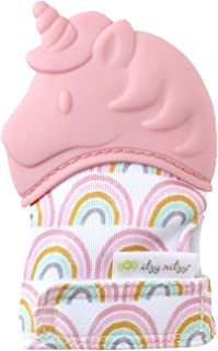 Itzy Ritzy Silicone Teething Mitt - Soothing Infant Teething Mitten with Adjustable Strap, Crinkle Sound & Textured Silicone to Soothe sore & Swollen Gums, Blush Unicorn