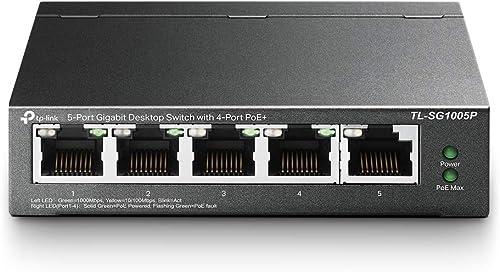 TP-Link Switch PoE (TL-SG1005P V2) 5 ports Gigabit, 4 ports PoE+, 65W pour tous les ports PoE, Boitier Métal, Install...