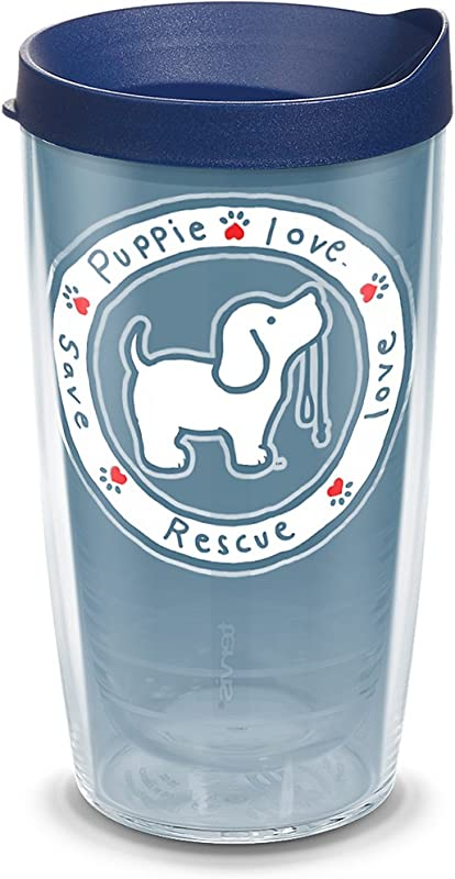 Tervis 1293617 Puppie Love Blue Pup Insulated Tumbler With Wrap And Navy Lid 16oz Clear