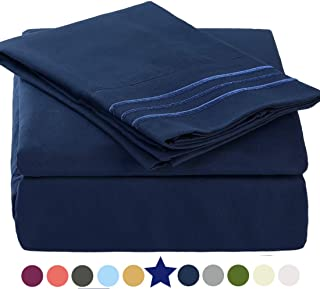 TEKAMON Premium 3 Piece Bed Sheet Set 1800TC Bedding 100% Microfiber Polyester - Super Soft, Warm, Breathable, Cooling, Wrinkle and Fade Resistant - 10-16