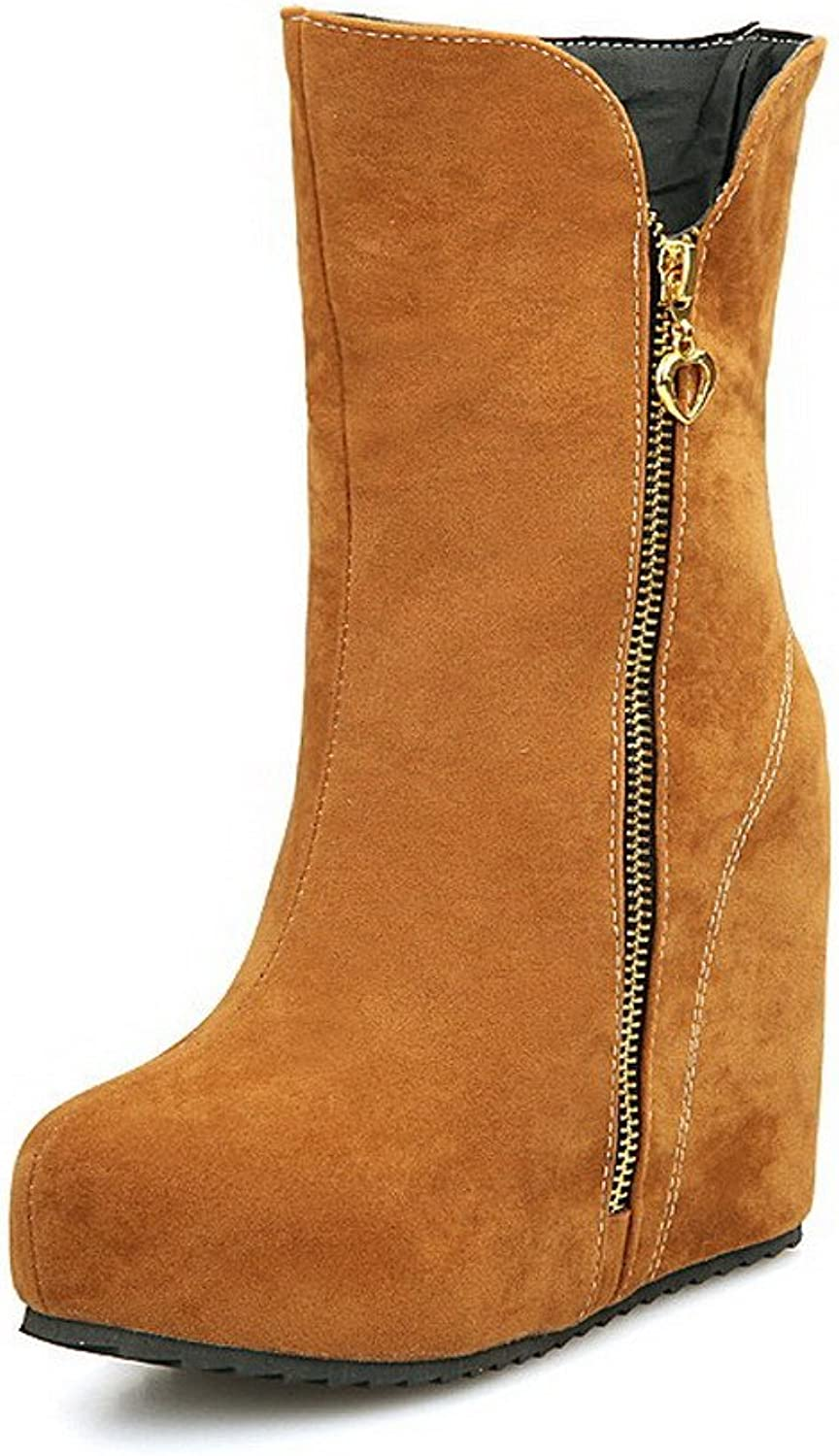 WeenFashion Women's Zipper High-Heels Imitated Suede Solid Low top Boots