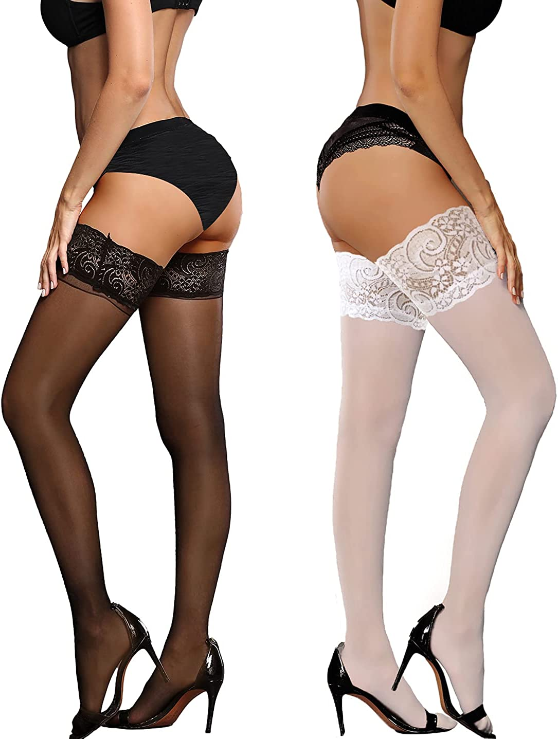 LUCKELF Plus Size Thigh High Stockings for Women Silicone Lace Top Semi Sheer Lingerie Pantyhose Stay up