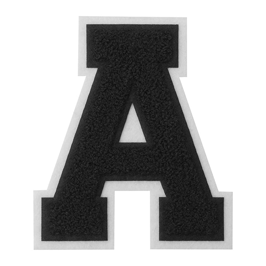 A - Black on White - 4 1/2 Inch Heat Seal/Sew On Chenille Varsity Letter