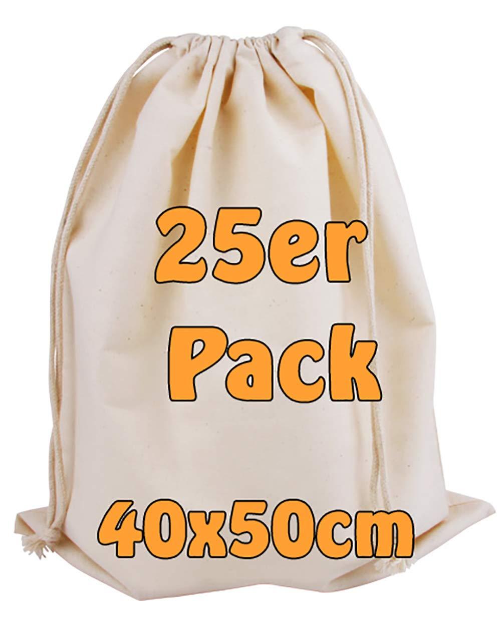 Cottonbagjoe Bolsa de algodón, Bolsa de Tela Grande, Zero Waste con cordón, para guardarla, para Pintar, Bolsa de Deporte de 40 x 50 cm, 100% algodón, Naturaleza, 25 Unidades: Amazon.es: Hogar