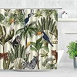 Tropische Pflanze Duschvorhänge AFFE Zebra Leopard Wilde Tiere Bäume Wasserdicht Bad Display Badezimmer Vorhang S.3 90x180cm