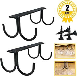 YG_Oline 2 Packs Black Metal Creative Beverage Holder, 8 Cabinet Hook Mug Tree, Rustic Coffee Cup Rack, Cabinet Wine Rack Sets