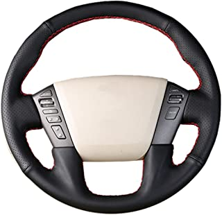 O SHI CAR Genuine Leather Steering Wheel Cover Original for Nissan Patrol 2011-2017 Infiniti QX56 2011-2013 Infiniti QX80 2013-2017 Splice Customization Perforated Cowhide Covers Black
