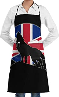 UK Flag Wolf Moon Full Length Bistro Apron Adjustable Kitchen Cooking Aprons, Front Pocket, 28 X 20 Inches