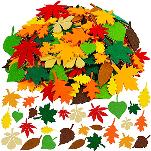 Supla Fall Maple Leaf Stickers Felt Stickers Assorted Self-Adhesive Autumn Maple Oak Leaves Cutouts Stickers for Kids Fall Crafts Scrapbooks Cards Thanksgiving Embellishments 504 Pack 9 Shapes