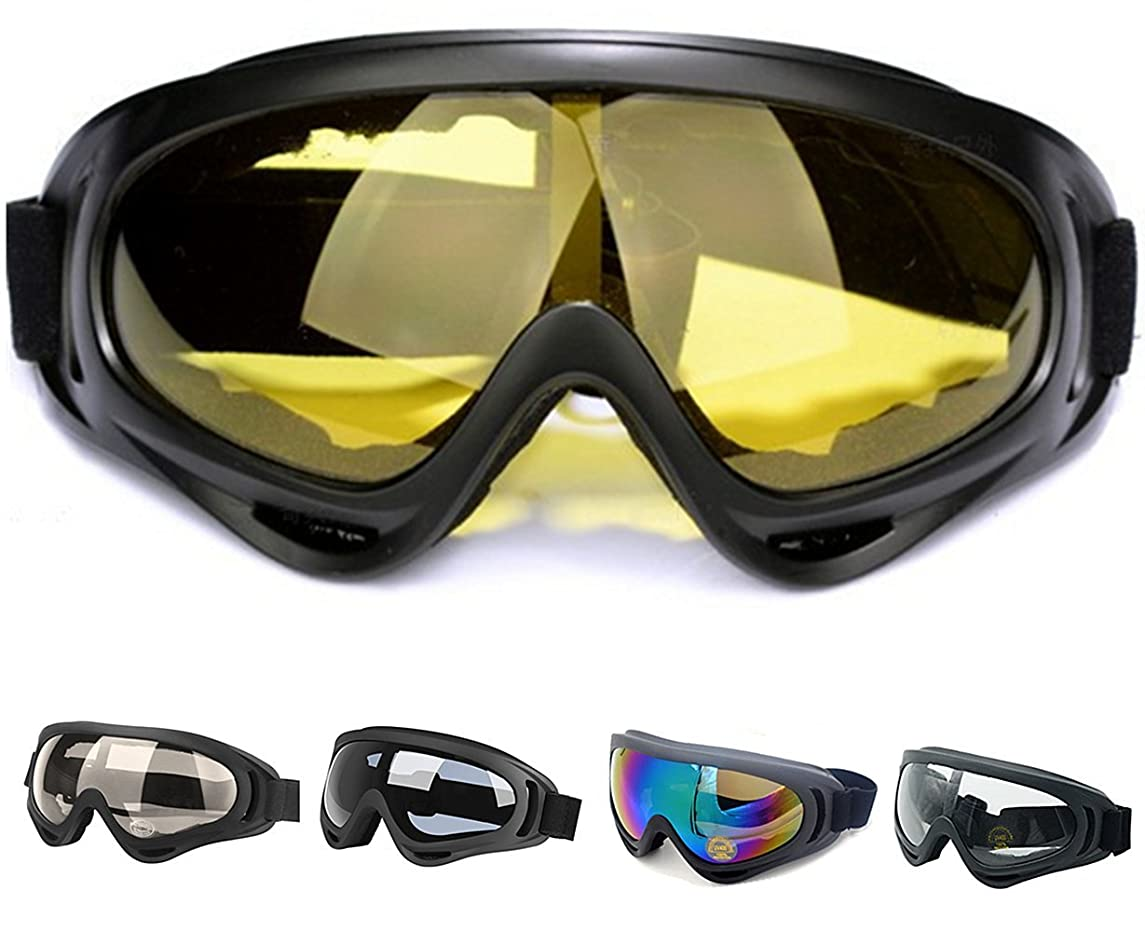 Outdoor Ski Goggles, Snowboard Goggles with UV 400 Protection Wind Resistance Anti-Glare Lenses, Skiing Snowmobile Motorcycle Bicycle Climbing for Youth Men Women Kids Boys Girls