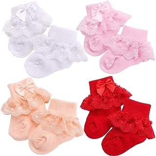 4 pares de calcetines de encaje con volantes y volantes, de algodón para recién nacidos, para recién nacidos, para bebés, niños, para fiestas y escuelas, accesorios para bebés