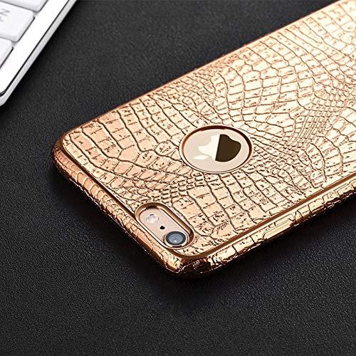 BOOSSONGKANG Funda para telefono movil Estuche de cocodrilo 3D con Estampado de Serpiente para iPhone 7 6 6s S Plus 5 5S SE Ultra Thin TPU Silicona Suave, contraportada, para iPhone 6 6S Plus, Dorado