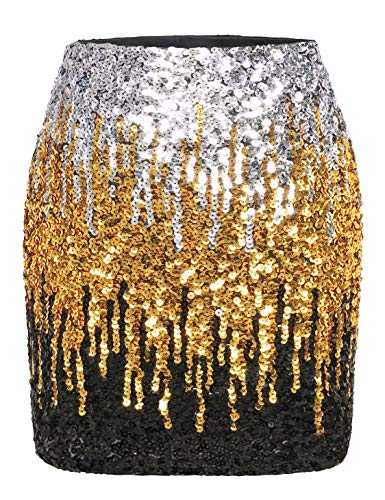 MANER Women's Sequin Skirt Sparkle Stretchy Bodycon Mini Skirts Night Out Party (XL/US 16-18, Silver/Gold/Black)