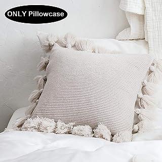 N/H Lantern Ball Pillowcase Home Soft Knitted Hoop Pillowcase Almohada de Punto con Pompones Fundas de cojín de Punto Funda de Almohada Decorativa con borlas de Linterna para Sala de Estar, automóvil