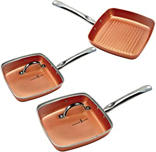 Copper Chef Non-Stick Square Fry Pan 5-Piece Set, 8 Inch Griddle Pan, 9.5 Inch Grill Pan, 11 Inch Griddle Pan, 9.5 Inch Li...