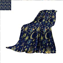 Hariiuet Modern Throw Blanket Starry Sky with Crescent Moon Night Astronomy Space Cosmos Design Velvet Plush Throw Blanket 90