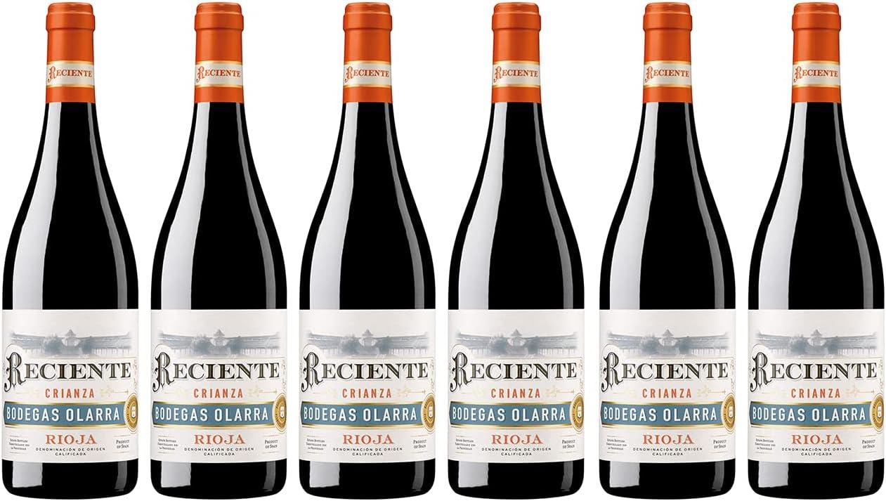 Reciente - Vino Tinto Crianza, DOCa Rioja Alta Alavesa y Media, Bodegas Olarra, Pack de 6 botellas de 750 ml