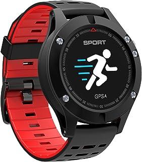NICERIO F5 Smart Watch Bluetooth 4.2 pulsera inteligente monitor de ritmo cardíaco monitoreo del sueño IP67 impermeable reloj deportivo inteligente GPS (rojo)