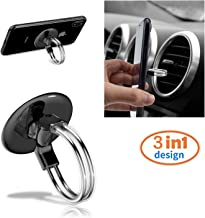 RUNGLI Cell Phone Ring Holder, 3 in 1 Universal Phone Ring Stand Car Holder, Finger Grip Phone Holder for iPhone, Samsung Phone and Smartphones (Black)
