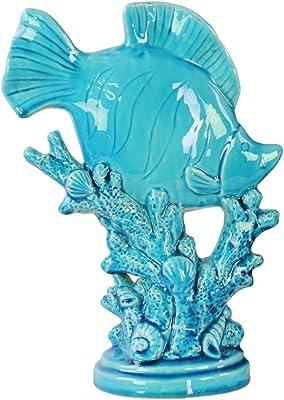 Urban Trends Ceramic Fish Figurine on Seaweed Pedestal with Gloss Finish, Blue