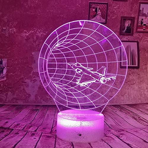 3D Symphony Lights LED Nachtlicht Halle Flugzeug Fighter Boy 7 Farbe USB Tischlampe Dekoration Geburtstagszimmer Spielzeug Schlafzimmer Nachttisch Geschenk Kinder Geschenk Licht Acryl