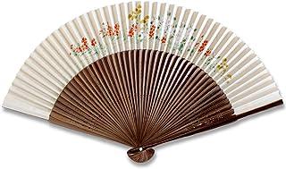 京扇子 婦人 65/45 極短地唐木中彫すき地手描き紙扇子 秋草(2019) 186116